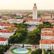University of Texas Austin campus at sunset-dusk