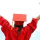 Graduate student celebrating her academic success