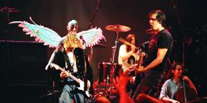 Kurt Cobain, Dave Grohl and Krist Novoselic of Nirvana (Photo by Jeff Kravitz/FilmMagic)