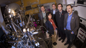 Evgeny Tsymbal, Shireen Adenwalla, Axel Enders, Christian Binek, and Alexei Gruverman are pictured in a Jorgensen Hall lab. The group run the MRSEC. The University of Nebraska-Lincoln has earned a $9.6 million grant from the National Science Foundation to support its Materials Research Science and Engineering Center and its nanotechnology research through 2020. January 08, 2015. Photo by Craig Chandler / University Communications